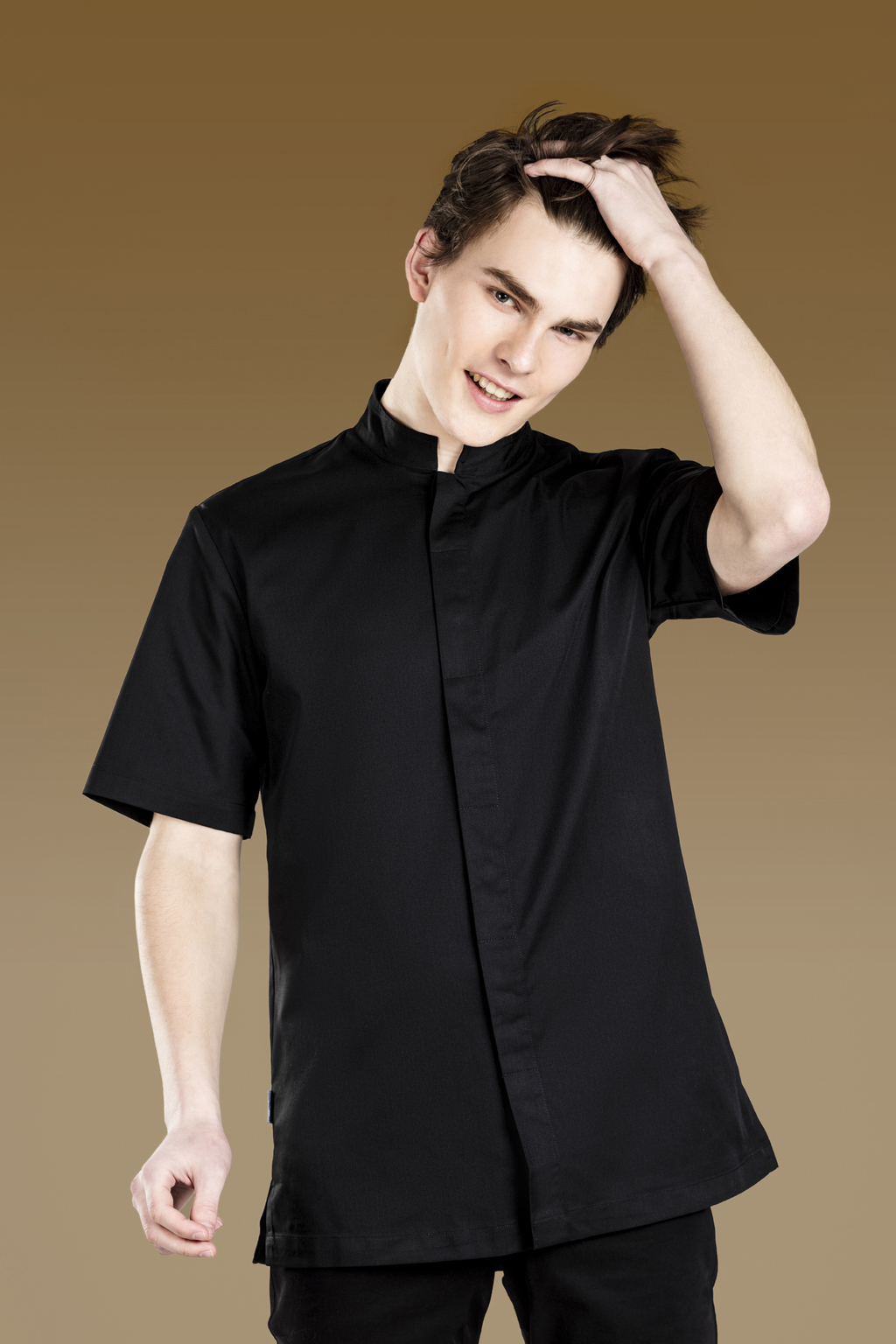 MEN'S SHORT SLEEVE TUNIC MAO COLLAR