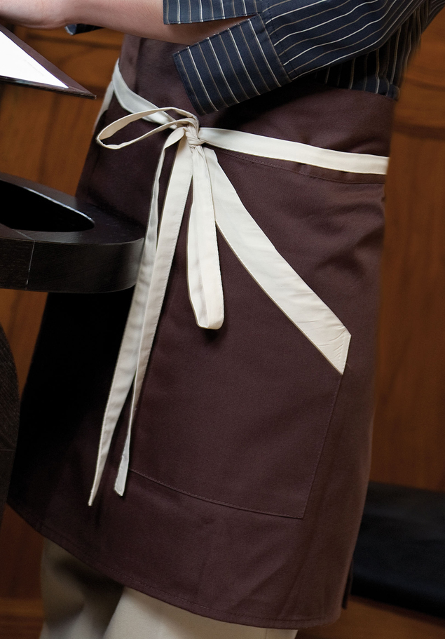 TWO-COLOUR SHORT TWILL APRON