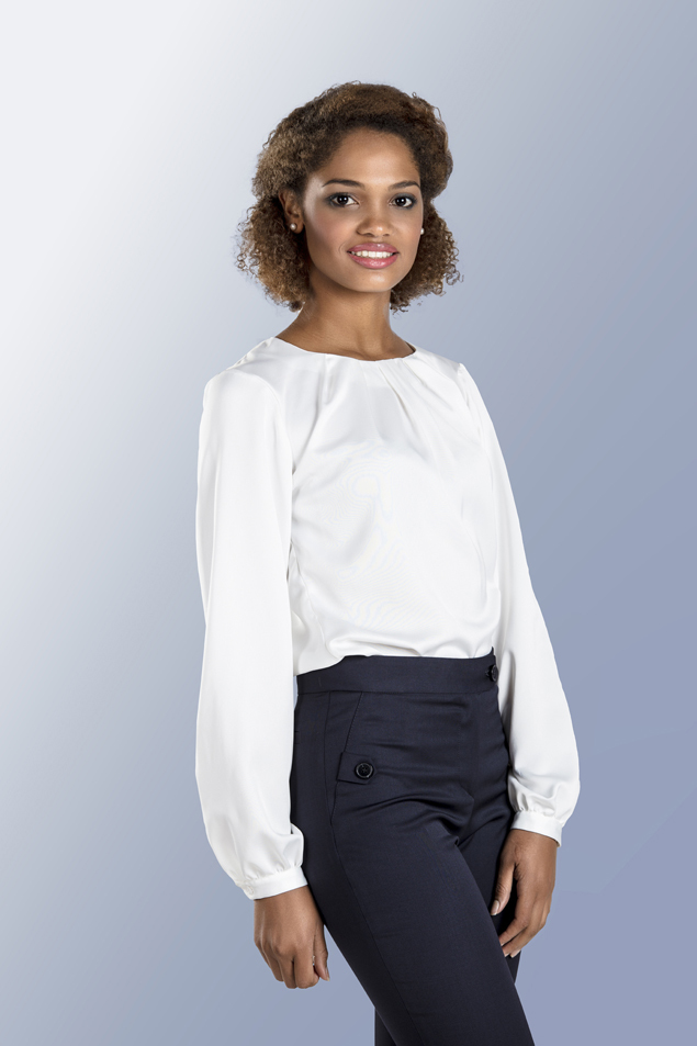 L/S BLOUSE WITH FOLDED NECKLINE