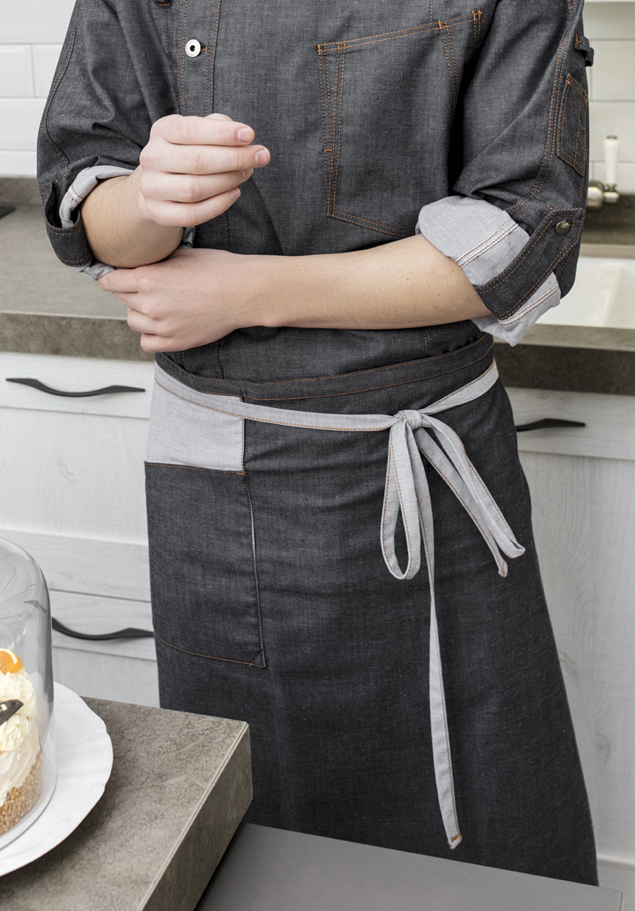 DENIM KNEE-LENGTH APRON