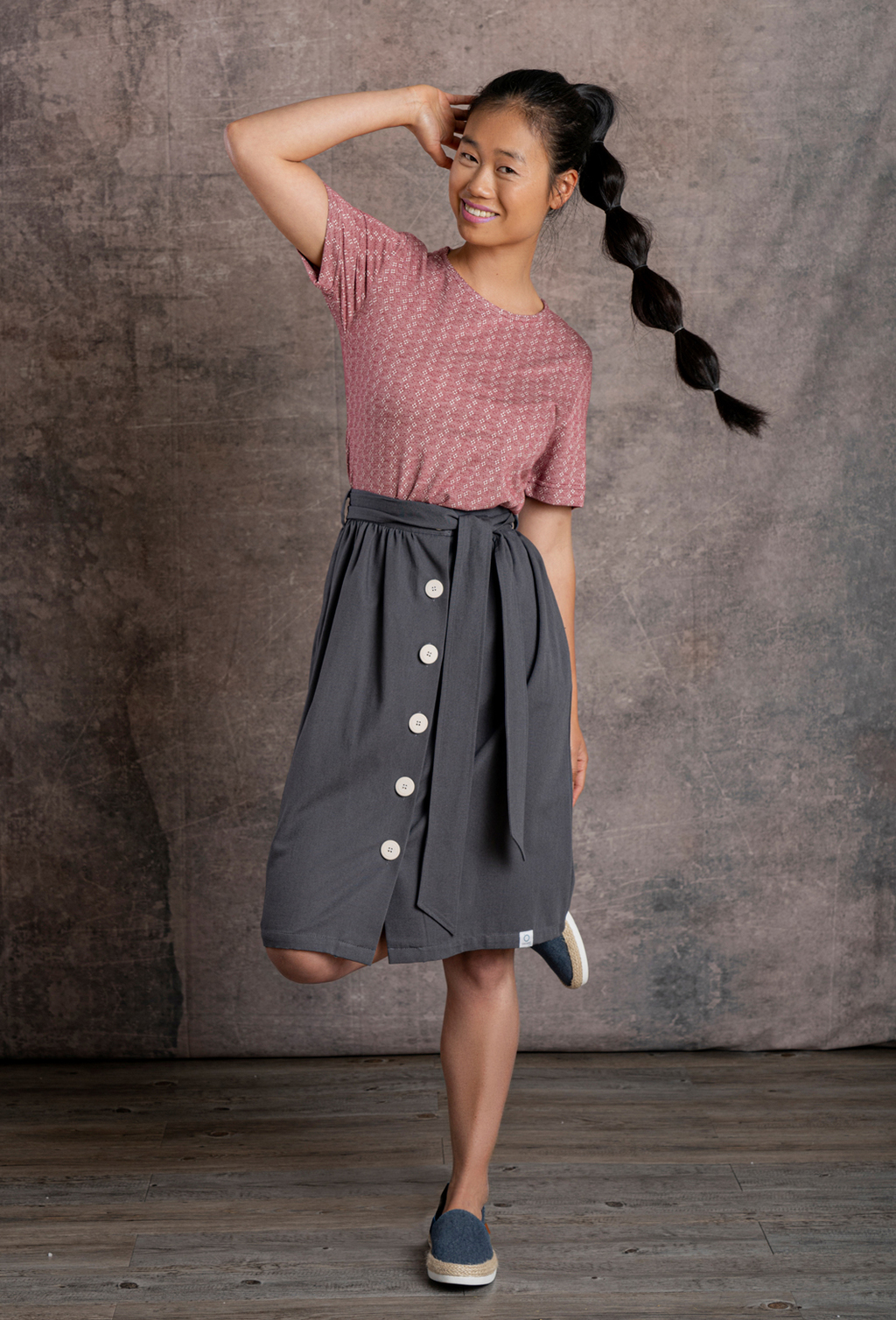 WOMEN'S SKIRT BUTTONS CLOSURE ORGANIC FABRIC