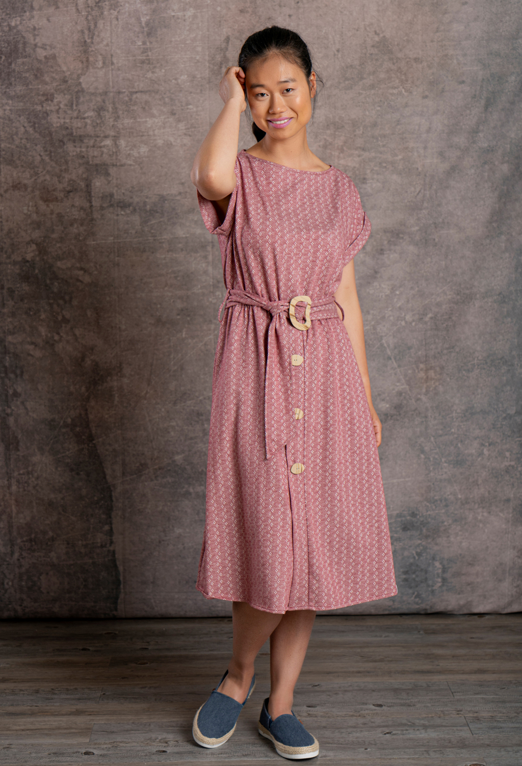 WOMEN'S MIDI DRESS W/BELT ORGANIC FABRIC AND KAPOK FIBER