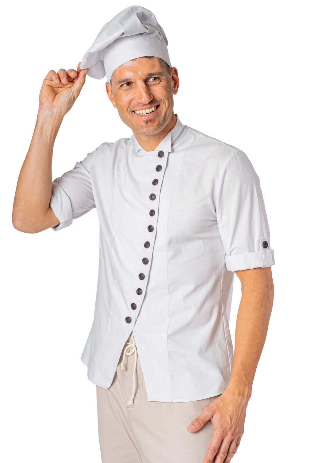 UNISEX CHEF JACKET W/ SLEEVE PICKER ORGANIC FABRIC