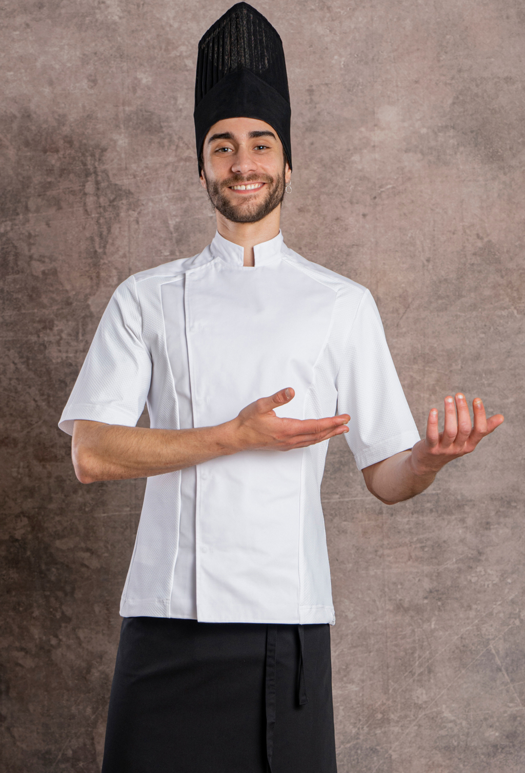 MEN'S CHEF JACKET S/S RECYCLED FABRIC GOFRADO DESIGN