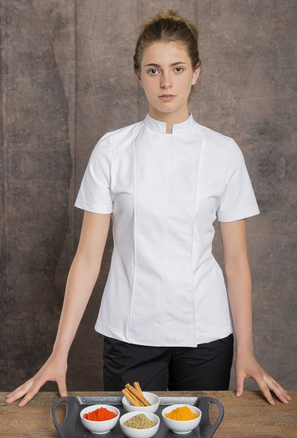 WOMEN'S CHEF JACKET S/S RECYCLED FABRIC GOFRADO DESIGN