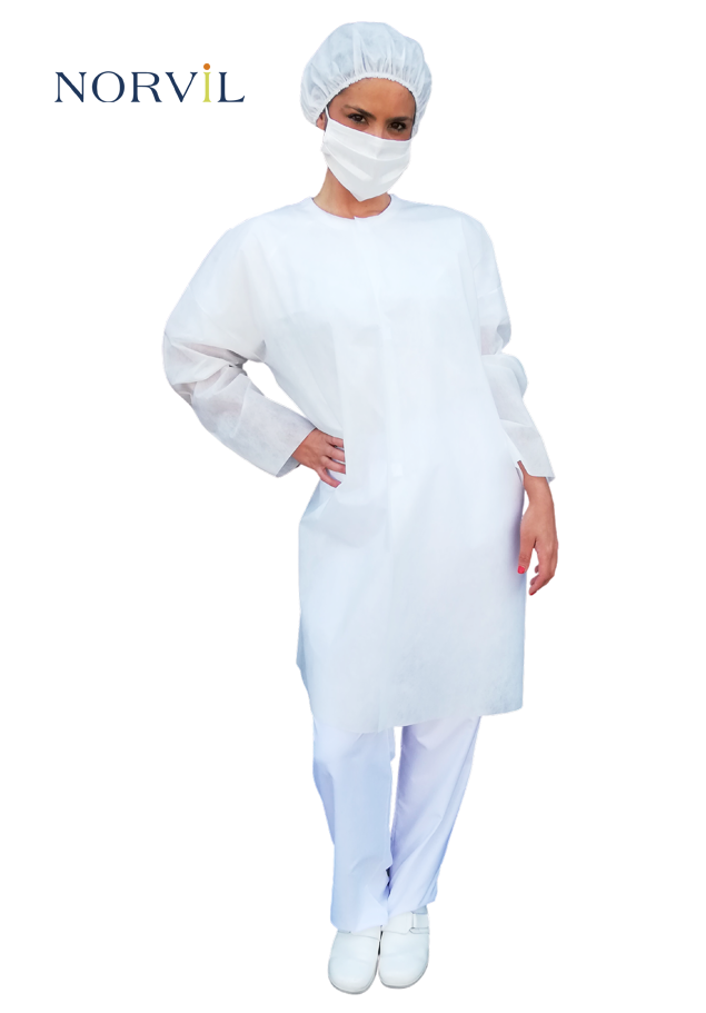 SHORT HYGIENIC GOWN WITH VELCRO  CLOSURE
