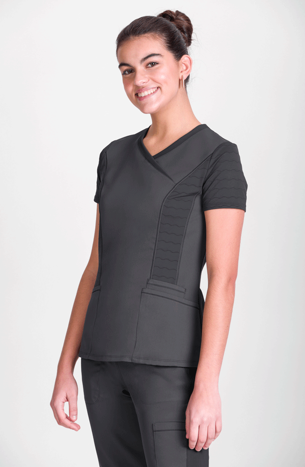 WOMEN'S  SHORT SLEEVE TUNIC  V COLLAR PREMIUM NATURA® STRETCH
